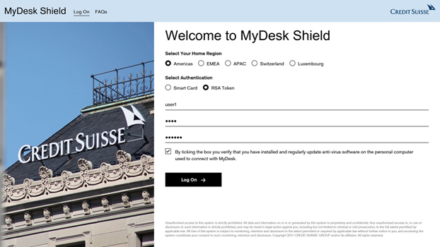 Credit Suisse - Welcome to MyDesk Shield